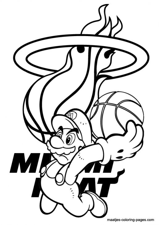 515x730 Mario In Miami Heat Coloring Pages Free Printable Sports
