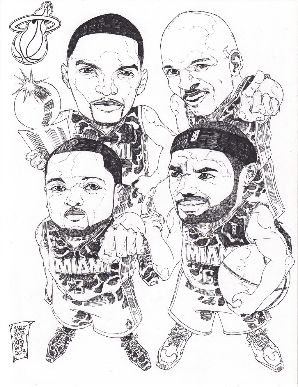 1024x1329 Basketball Teams Coloring Pages Free Miami Heat And Nba Logo