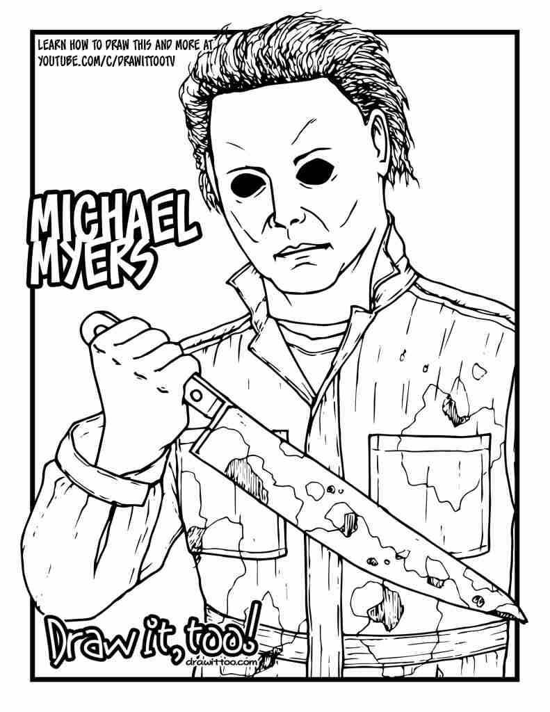 791x1024 How To Draw Michael Myers Halloween Drawing Tutorial It Too
