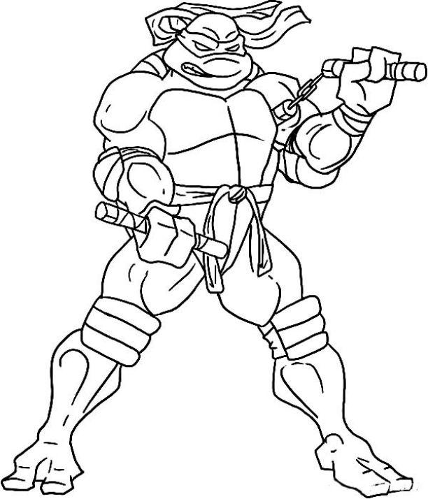 612x714 Ninja Turtles Coloring Pages Michelangelo Hard