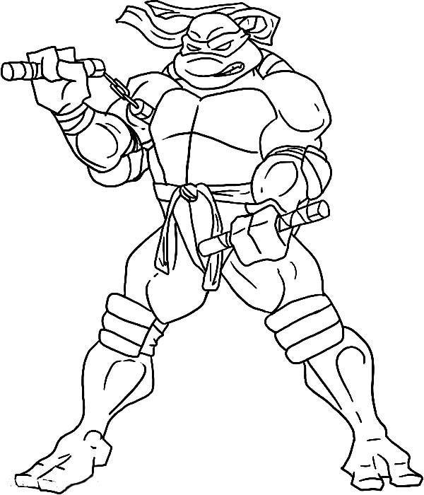 600x700 Teenage Mutant Ninja Turtles Coloring Pages Michelangelo