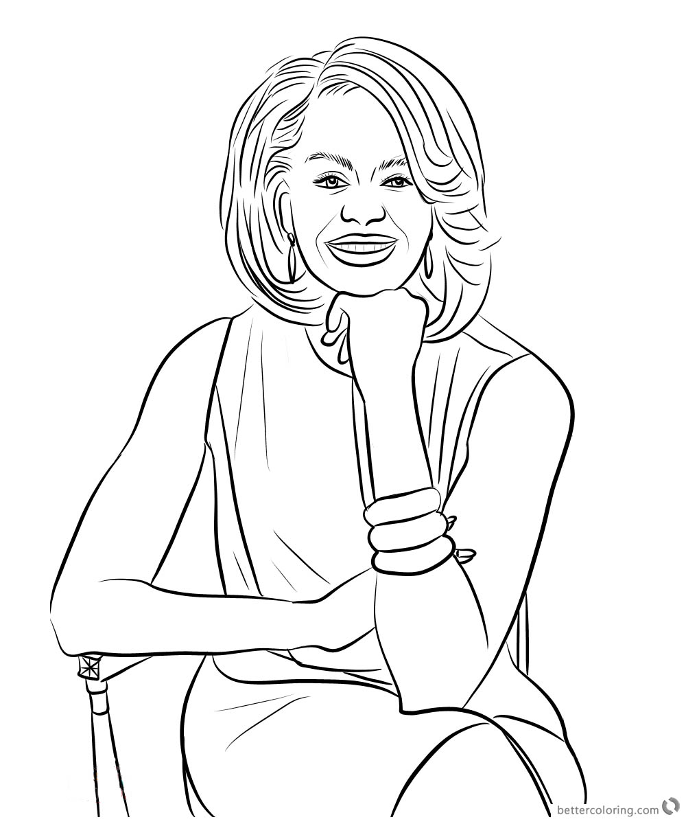1000x1200 Michelle Obama Coloring Page Sitting On A Chair