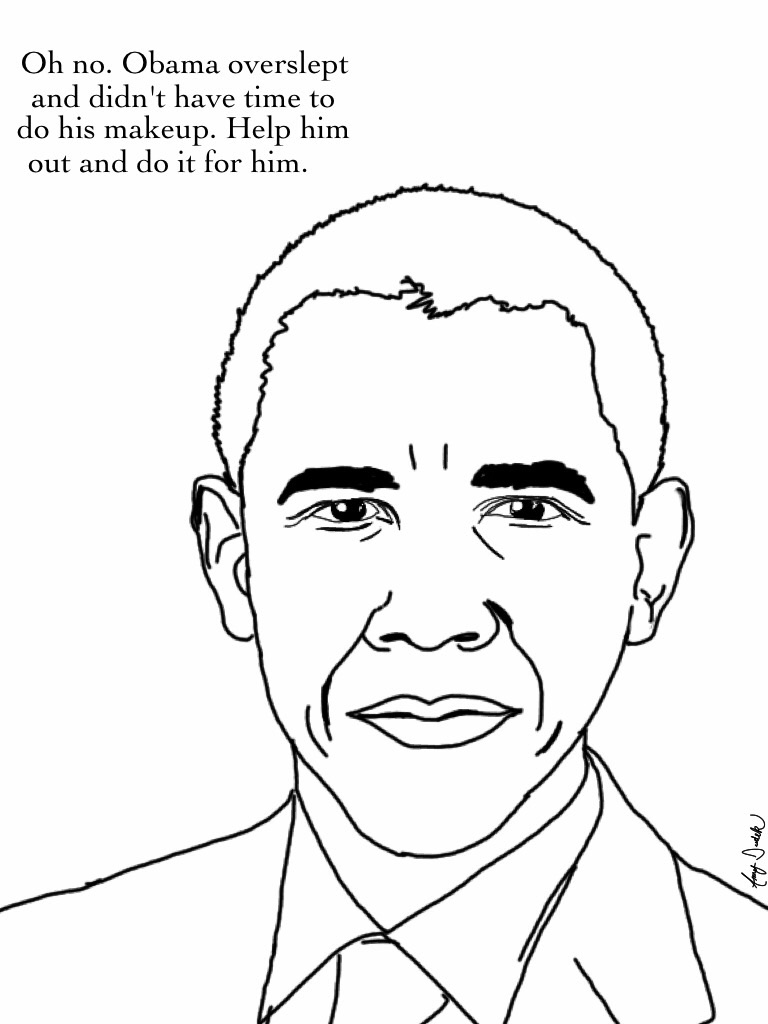 768x1024 Smiling Obama Barack Coloring Page