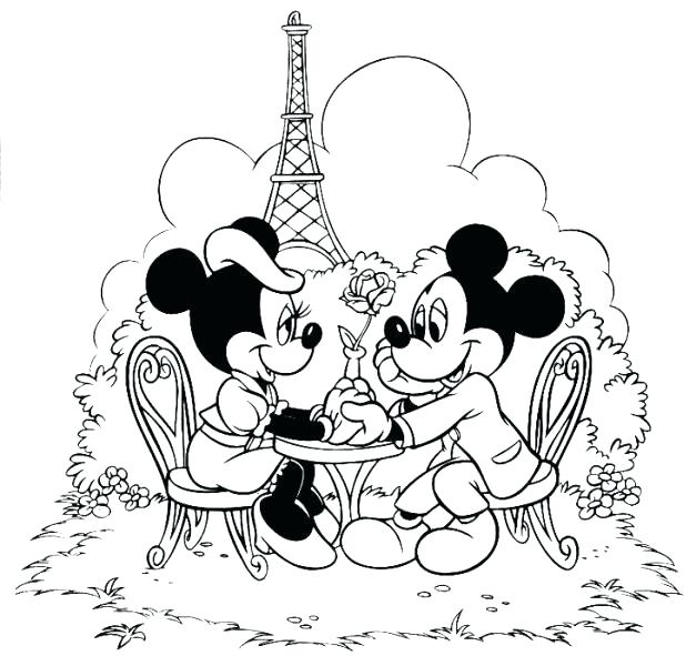Mickey And Minnie In Love Coloring Pages