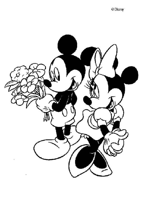 601x850 Mickey Mouse And Minnie Mouse In Love Coloring Page Coloring