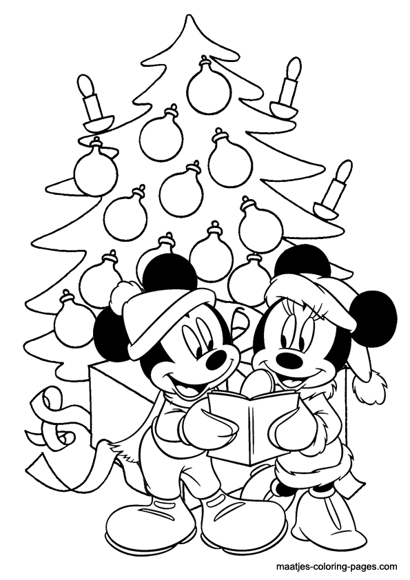 595x842 Mickey Mouse Coloring Pages Christmas For Amusing Print Paint