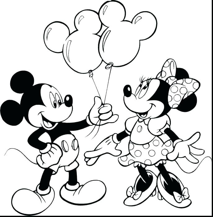 687x702 Mickey And Minnie Christmas Coloring Pages Free Printable Mouse