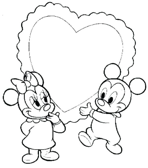 600x680 Mickey Minnie Coloring Pages Baby Mickey Heart Coloring Pages
