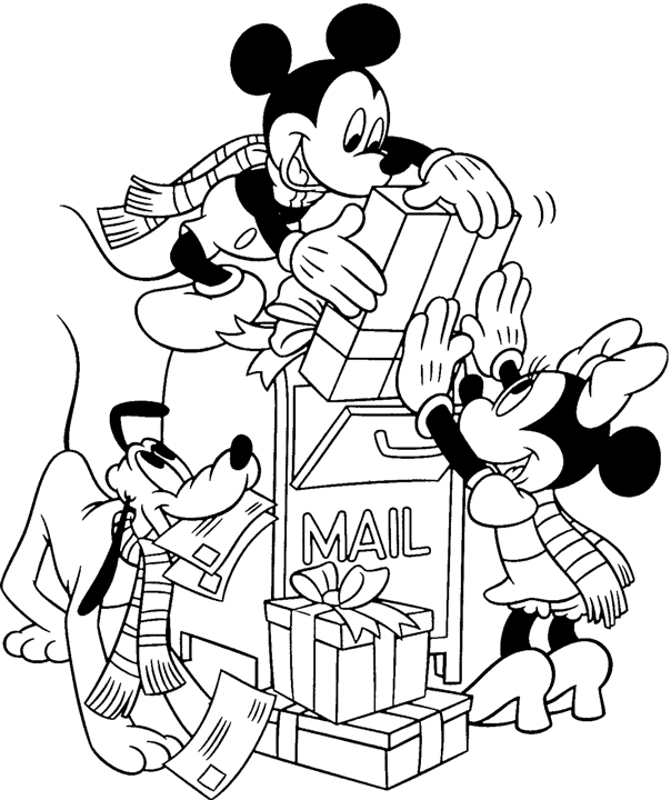 604x720 Mickey Mouse Christmas Coloring Pages Free Print