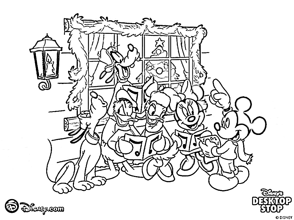 1024x768 Printable Mickey Mouse Christmas Coloring Pages Free Disney