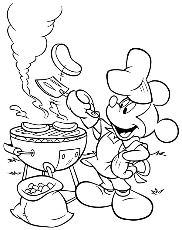 600x761 Mickey Mouse Clubhouse, Mickey Doing A Barbecue In Mickey Mouse