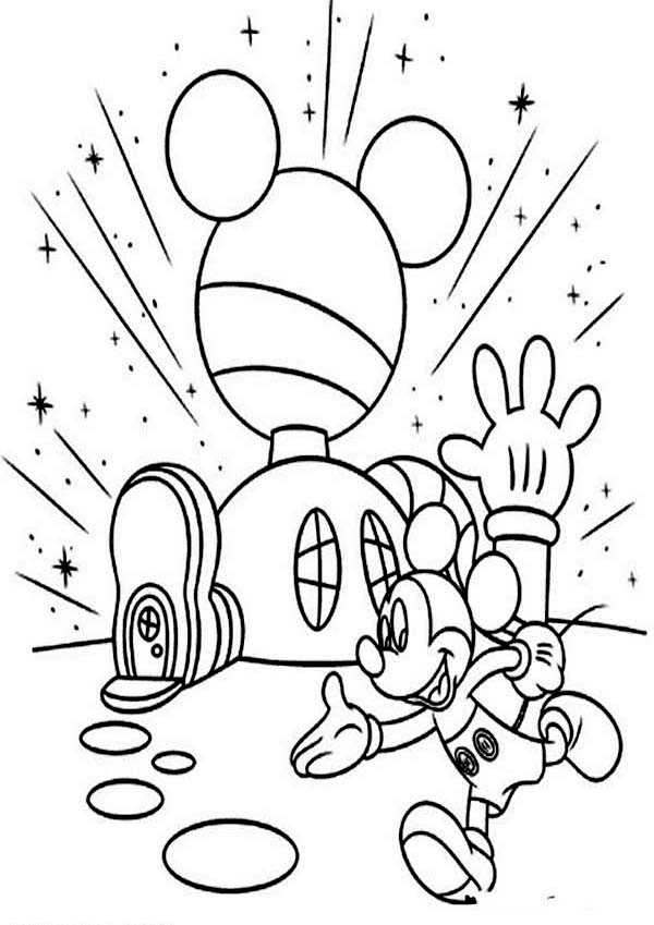 600x849 Mickey Mouse Clubhouse, Mickey In Front Of His Clubhouse Coloring