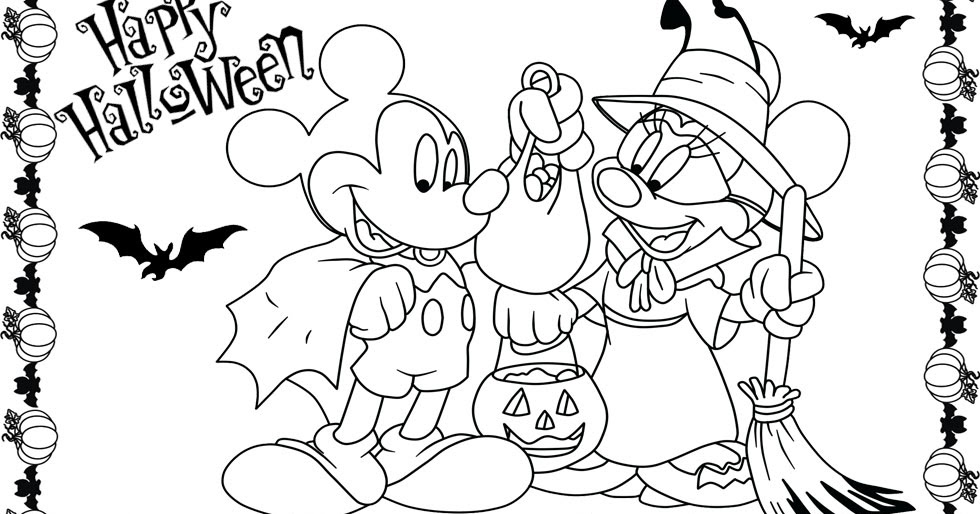 980x514 Minnie And Mickey Mouse Coloring Pages For Halloween Team Colors