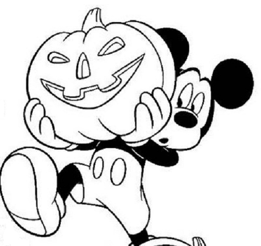 520x490 Disney Mickey Mouse Halloween Coloring Pages