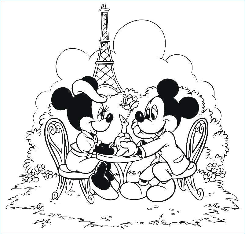 802x766 Mickey Minnie Pluto Christmas Mail Coloring Page