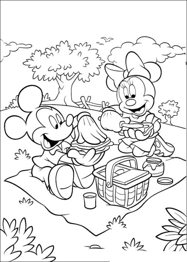 600x840 Mickey And Minnie Mouse Coloring Pages