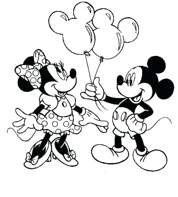 615x680 Minnie And Mickey Mouse Coloring Pages