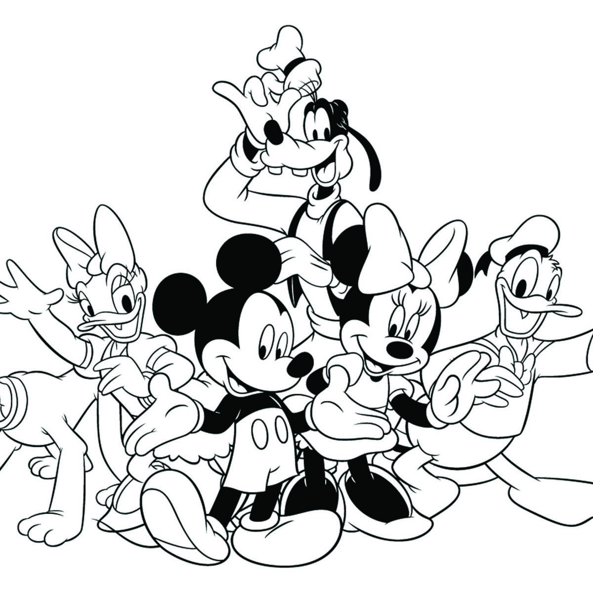 1200x1200 Mickey Mouse And Friends Coloring Pages To Print Newyork