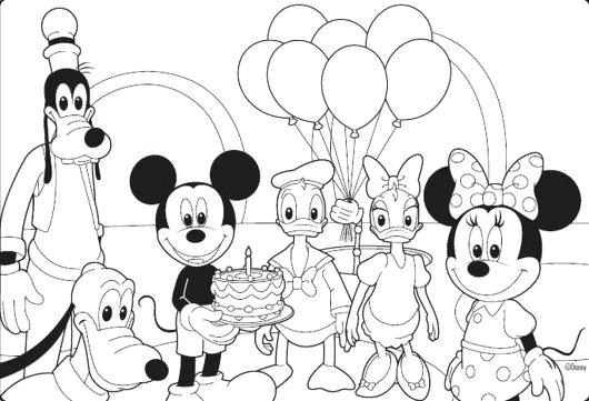 530x361 Free Mickey Mouse Coloring Pages Mickey Mouse And Friends Coloring