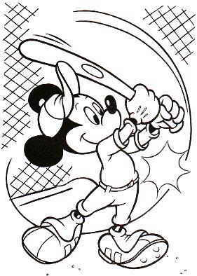 281x394 Mickey Mouse Baseball Coloring Page