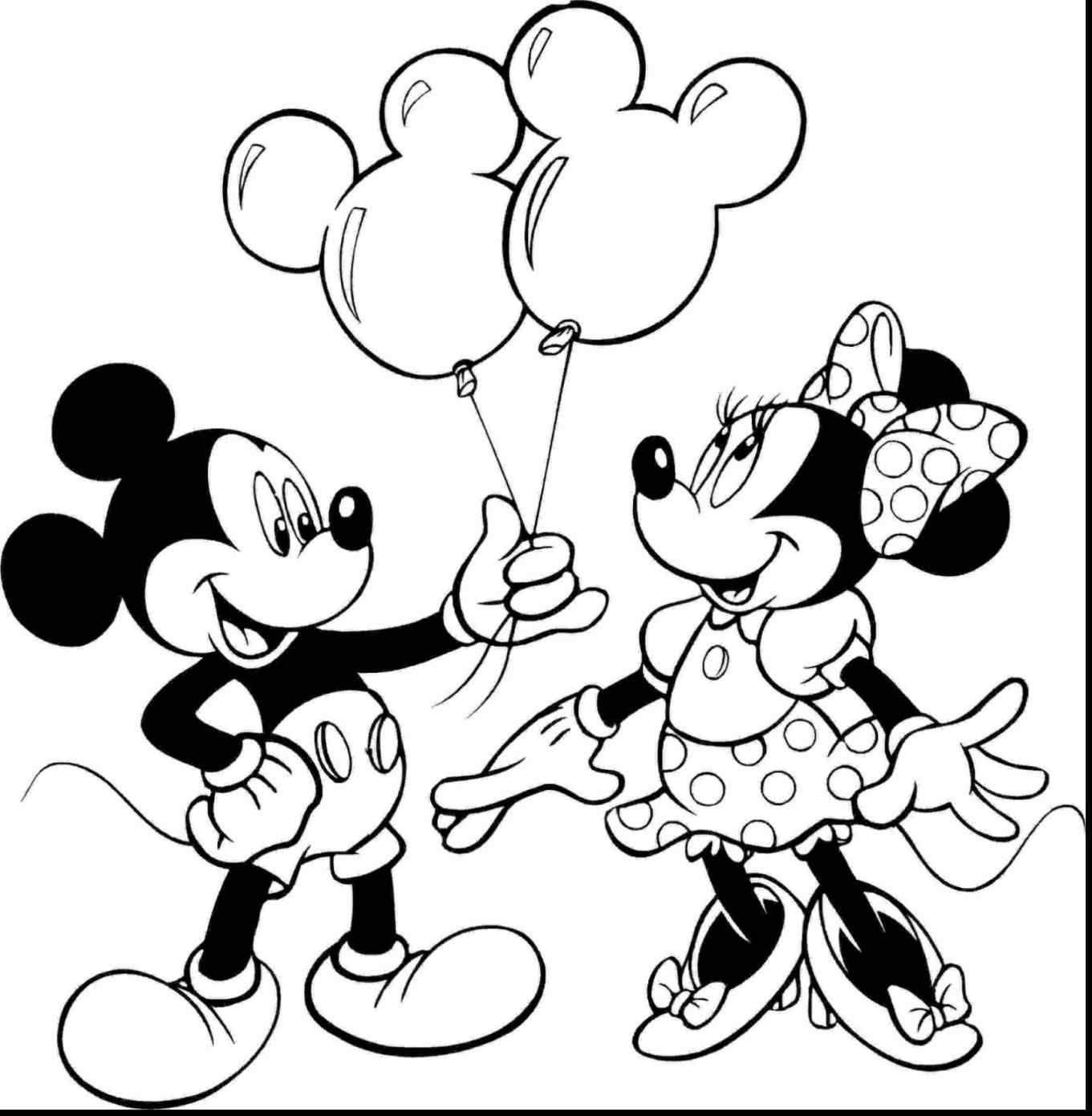 1361x1390 Mickey And Minnie Mouse Birthday Coloring Pages Online Coloring