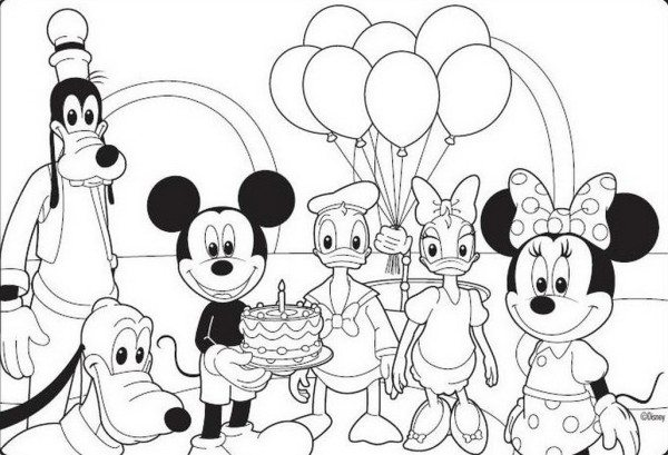 600x409 Birthday Mickey Mouse Coloring Pages
