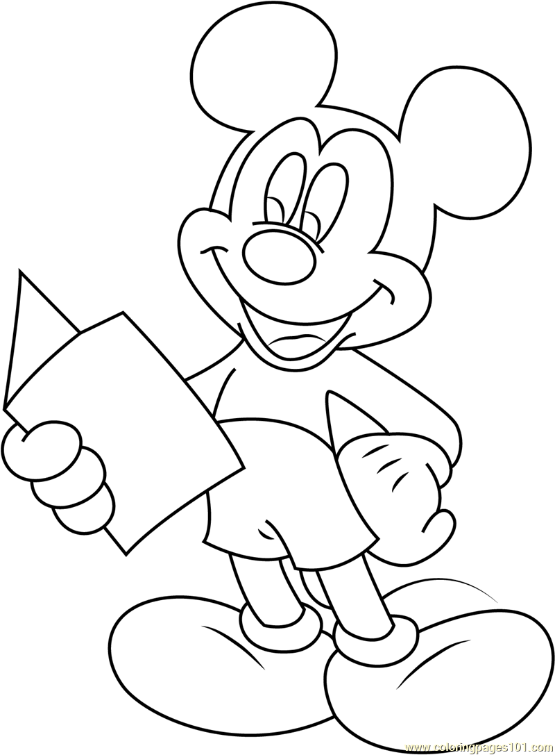 800x1087 Mickey Mouse Reading A Book Coloring Page