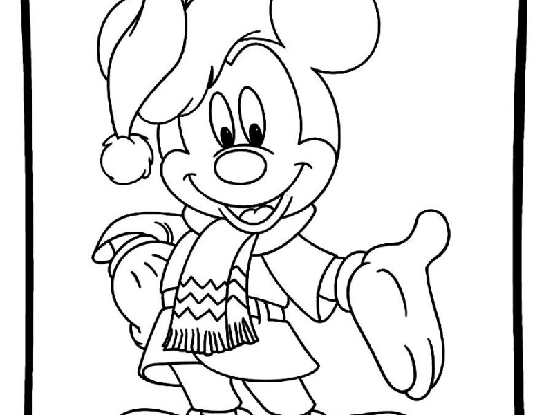 800x600 Mickey Mouse Coloring Pages Christmas Drawn Christmas Mickey Mouse