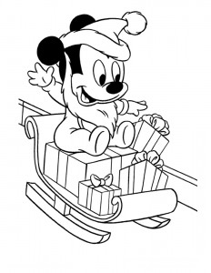 232x300 New Mickey Mouse Christmas Coloring Pages Free Print