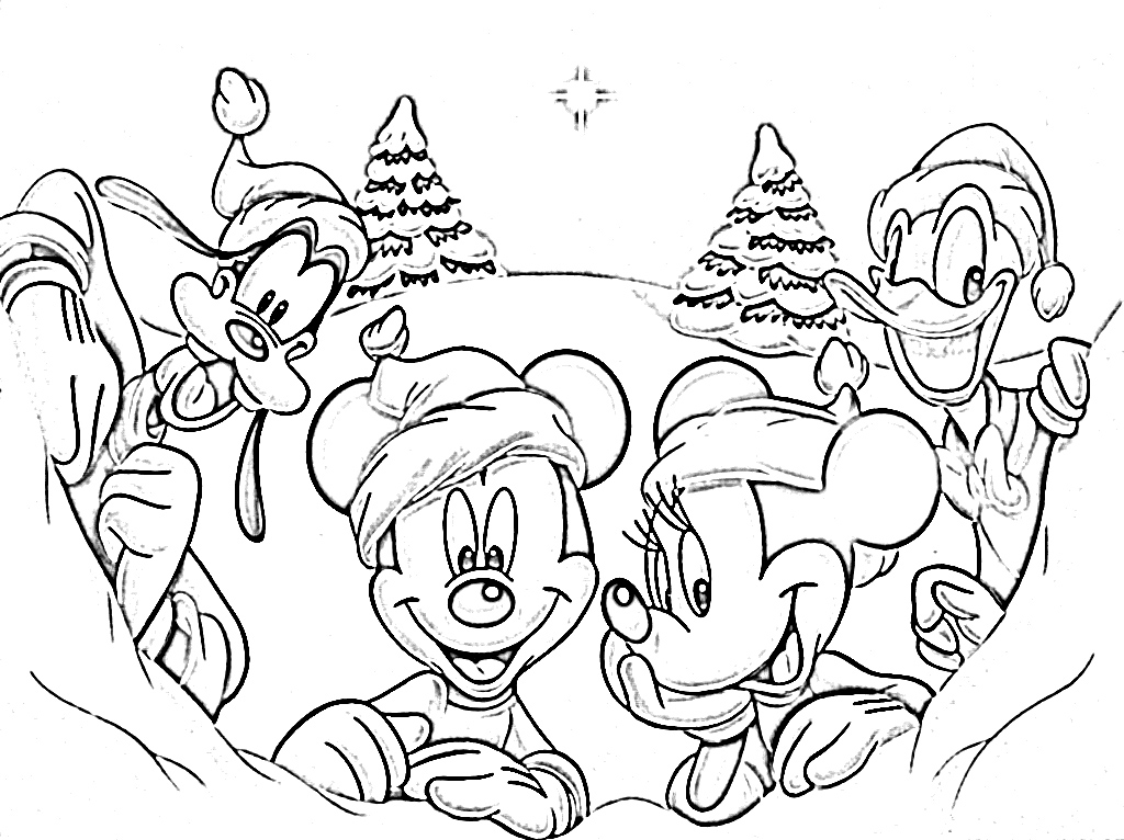 1024x766 Mickey Mouse And Friends Christmas Coloring Pages