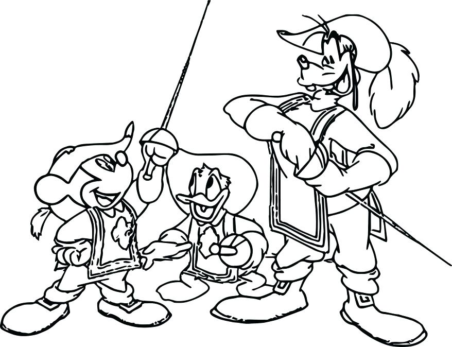 878x674 Mickey Mouse Easter Coloring Pages To Print The Three Musketeers