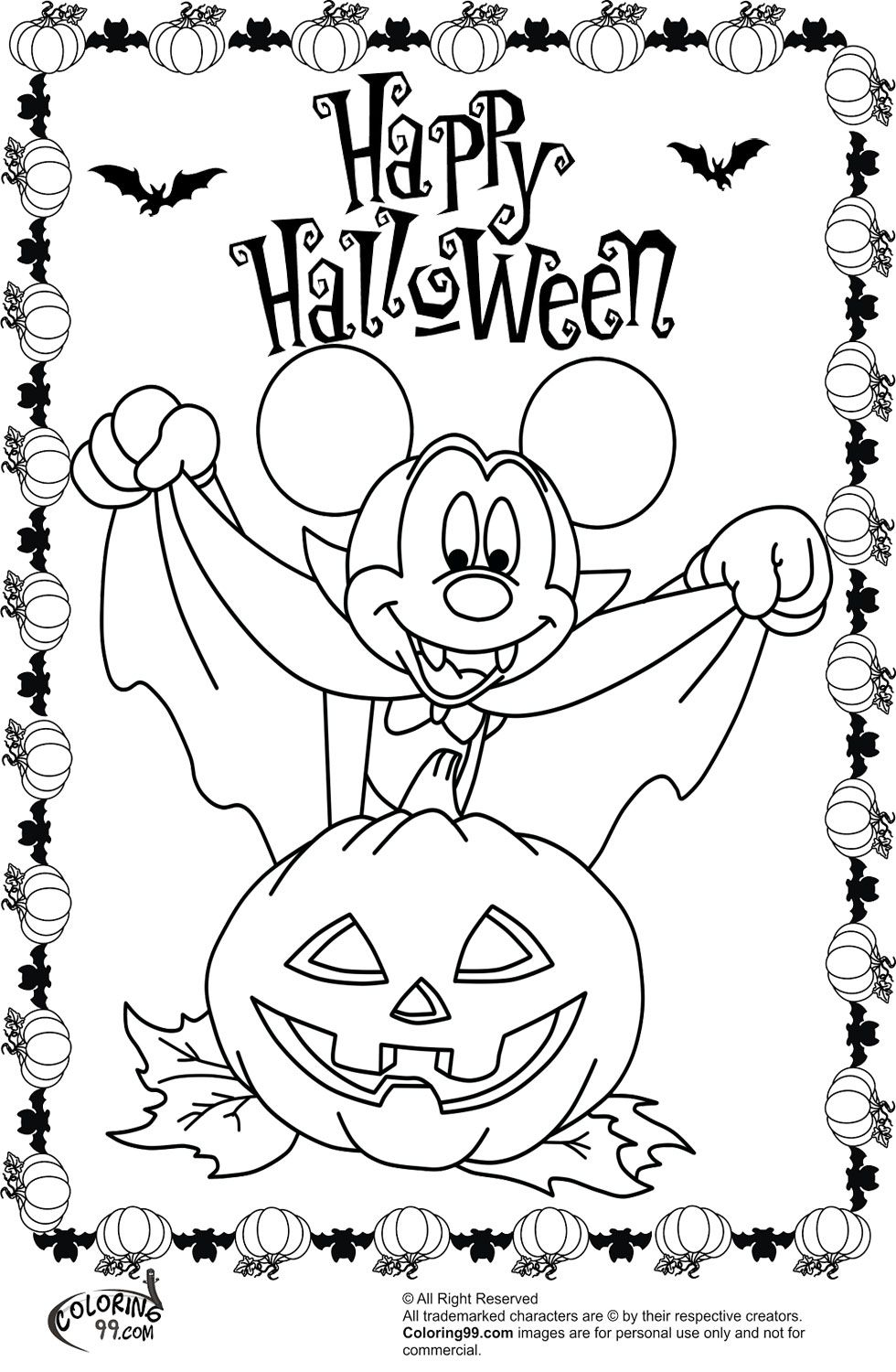 980x1500 Minnie And Mickey Mouse Coloring Pages For Halloween Team Colors