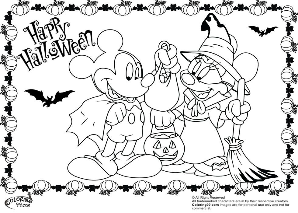 980x700 Mickey Mouse Halloween Coloring Pages Disney Princess Halloween