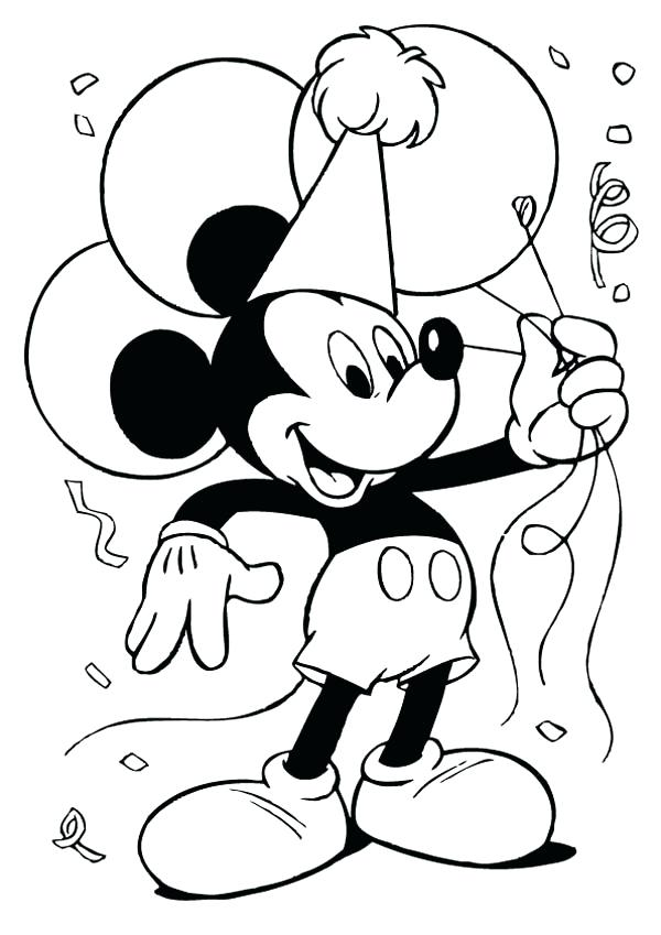600x849 Mickey Birthday Coloring Pages Happy Birthday Coloring Pages