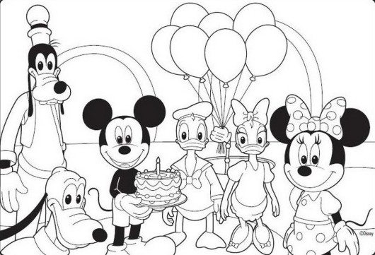 530x361 Mickey Mouse Disney Happy Birthday Coloring Pages