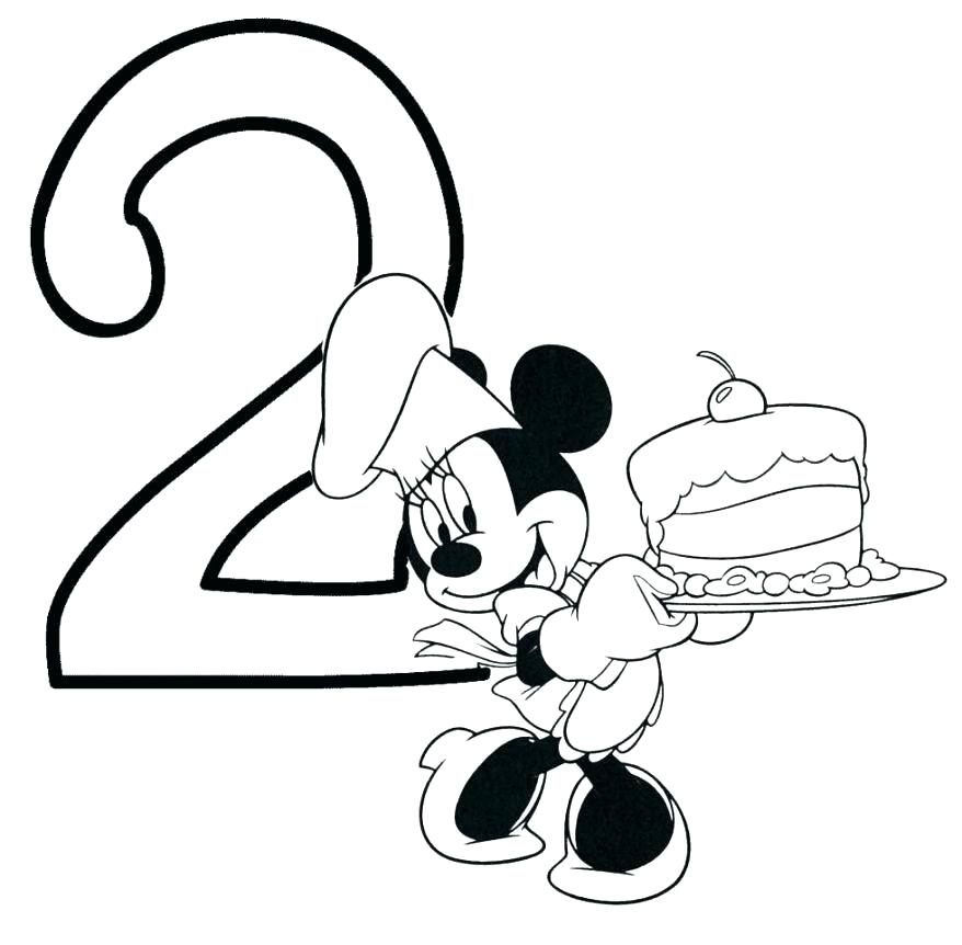 878x862 Mickey Mouse Happy Birthday Coloring Pages