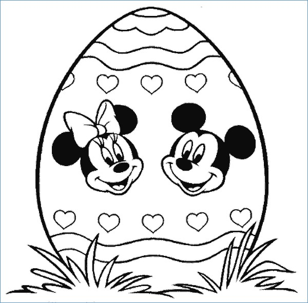 600x591 Mickey And Minnie Easter Disney Coloring Pages