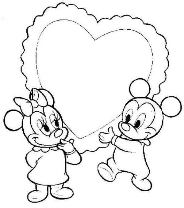 600x680 Baby Mickey Minnie Heart Disney Coloring Pages
