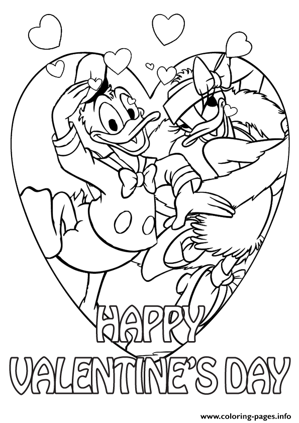 595x842 Donald Duck And Daisy On Valentine Day Disney Coloring Pages