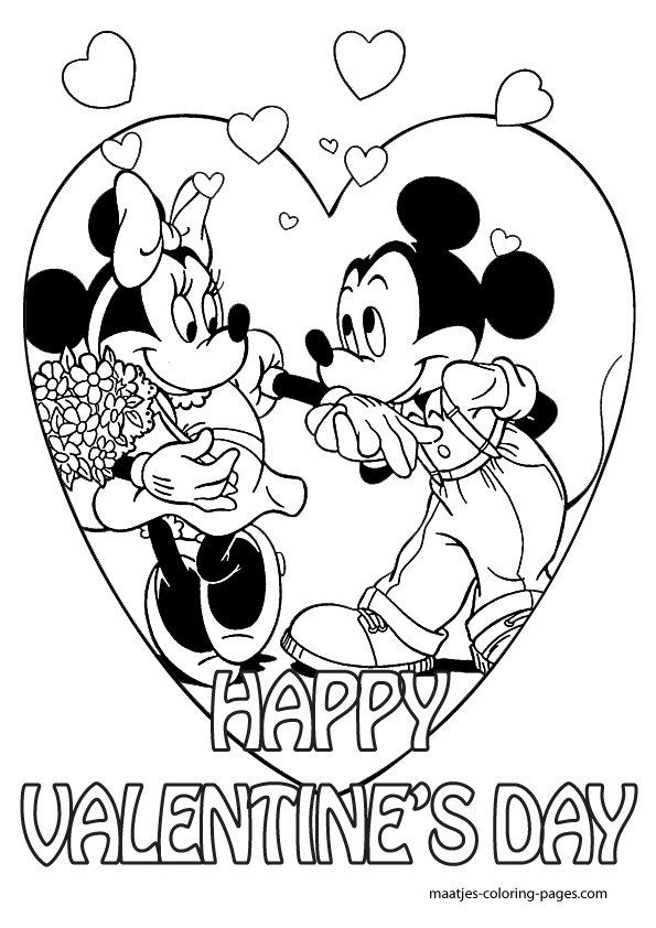 595x842 Mickey Mouse Valentine Coloring Pages