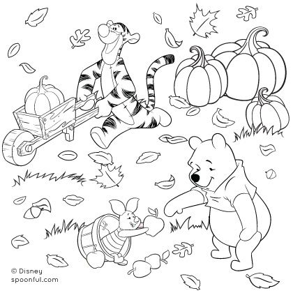 420x420 Winnie The Pooh And Friends Fall Coloring Page Halloween
