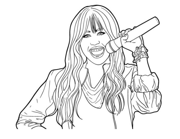 600x463 Miley Hold Microphone In Hannah Montana Coloring Page