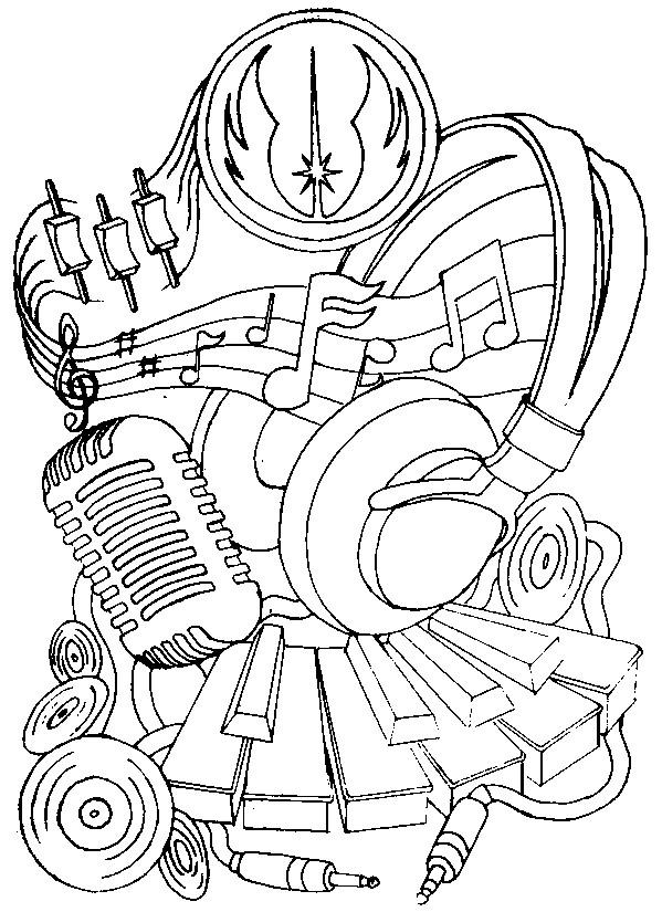 599x825 Adult Coloring Page Music Headphones And Microphone