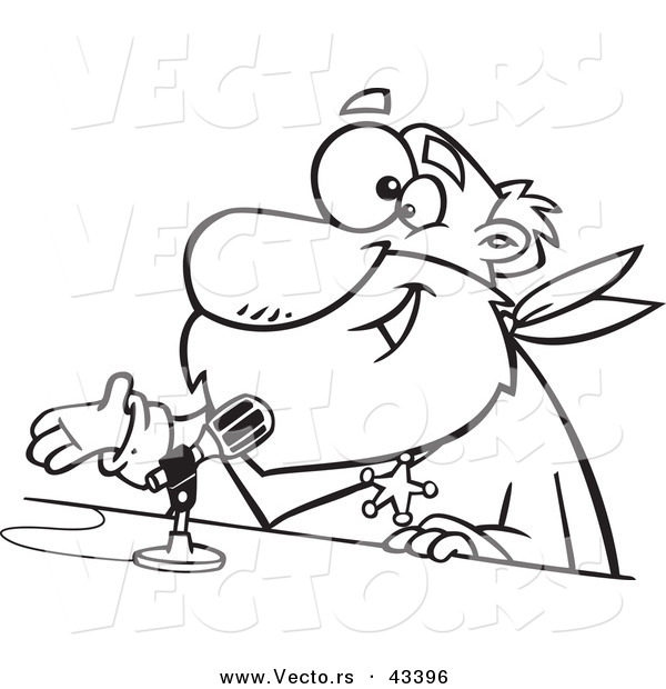 600x620 Vector Of A Happy Cartoon Crs Santa Speaking Into A Microphone