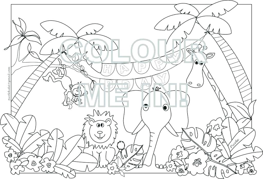 1024x698 And And Jungle Animals Coloring Page Free To Print Out Printable