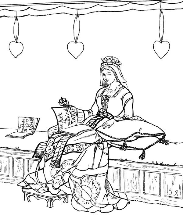 600x705 Princess In Her Chamber In Middle Ages Coloring Page Color Luna