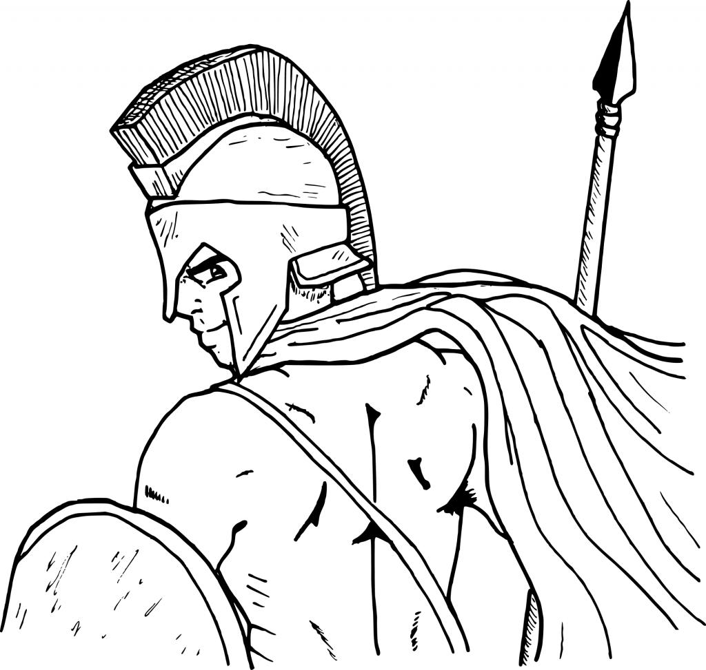 1024x973 Courage Soldier Middle Age Coloring Page