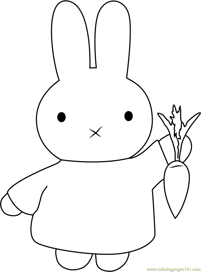800x1079 Miffy With Carrot Coloring Page