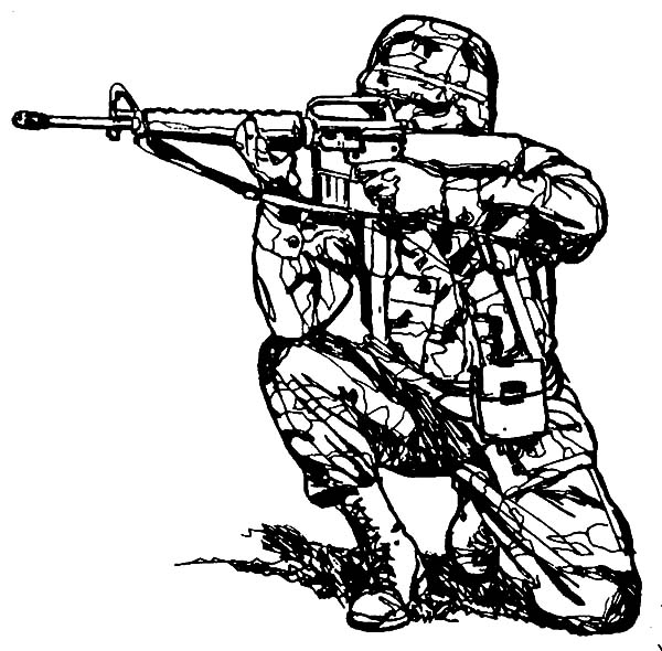 600x590 Military Aiming With Sniper Rifle Coloring Pages Color Luna