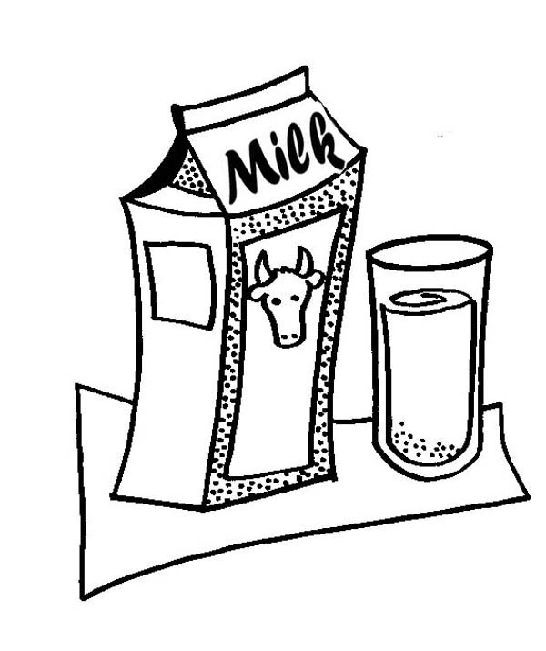 600x715 Milk Carton And Glass Of Delicious Milk Coloring Page